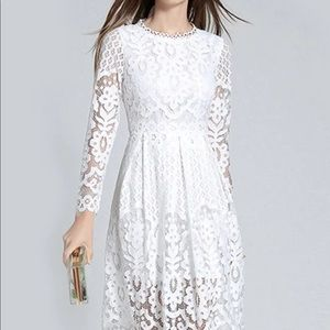 White lace Midi dress with long sleeves NWOT